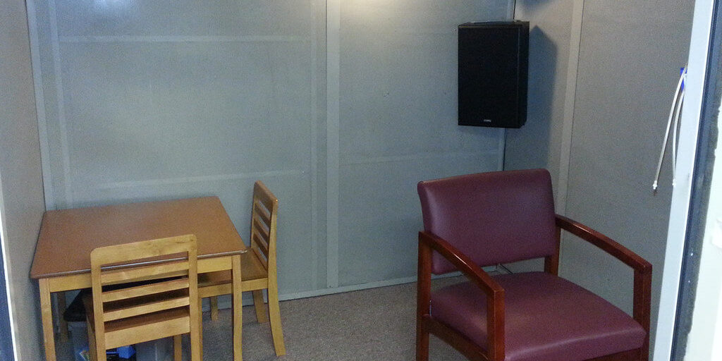 sound booth in the HearClear Hillsborough office