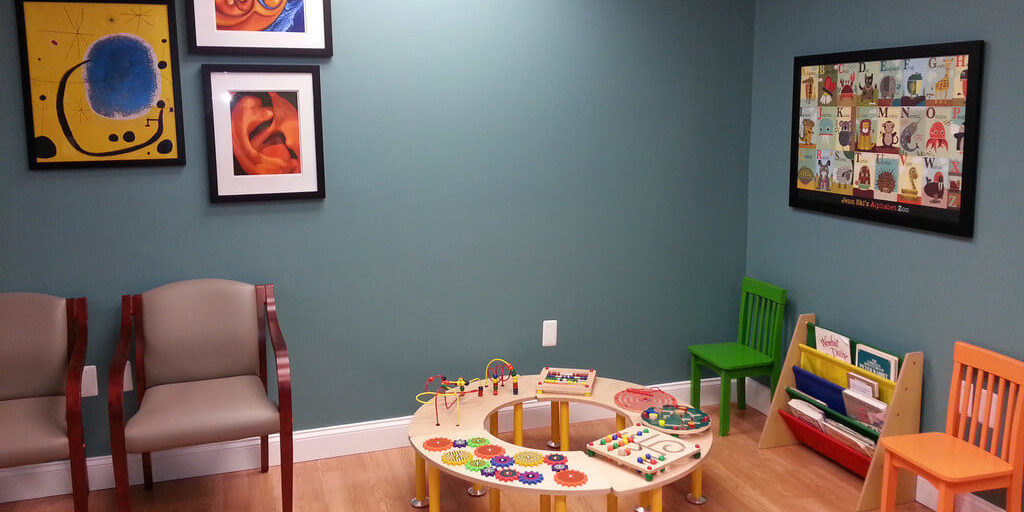 children's area in the HearClear Watchung office waiting room